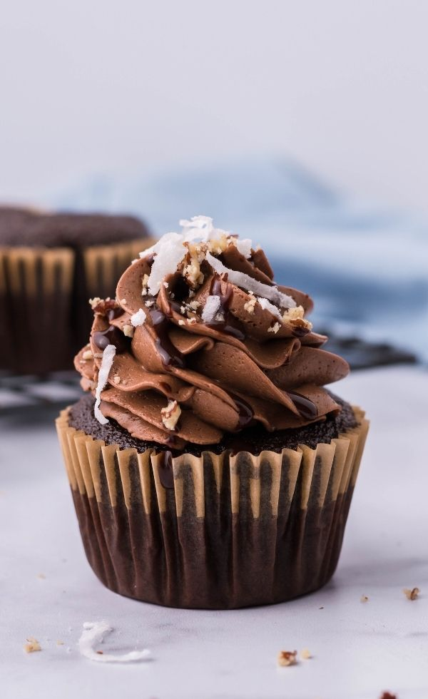 German Chocolate Cupcake on a marble countertop