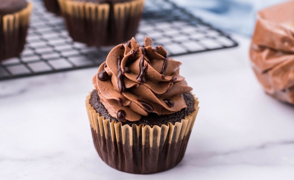 German Chocolate Cupcakes with Chocolate Frosting