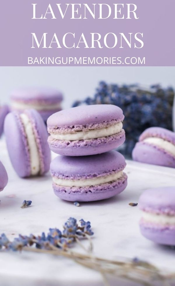 Cookies stacked neatly with a text overlay reading Lavender Macarons