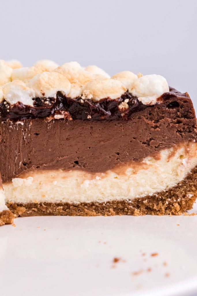 Side angle showing the layers of the air fryer s'mores cheesecake.