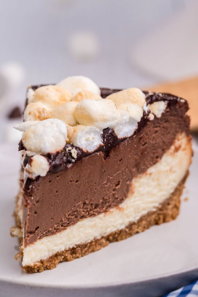Slice of air fryer s'mores cheesecake on a white plate.